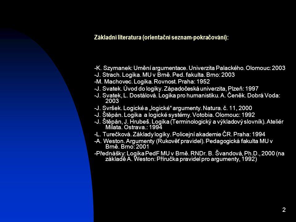 2 Základní literatura (orientační seznam-pokračování): -K. Szymanek: Umění argumentace. Univerzita Palackého. Olomouc: 2003 -J. Strach. Logika. MU v B