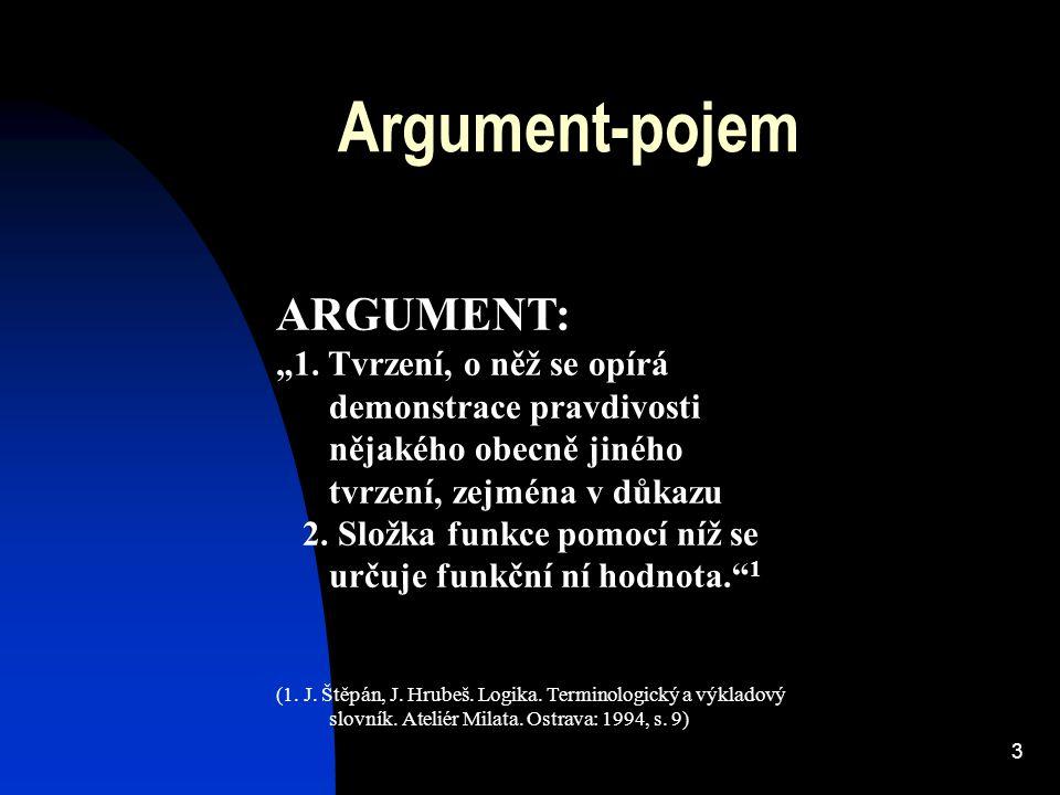 """3 Argument-pojem ARGUMENT: """"1. Tvrzení, o něž se opírá demonstrace pravdivosti nějakého obecně jiného tvrzení, zejména v důkazu 2. Složka funkce pomoc"""