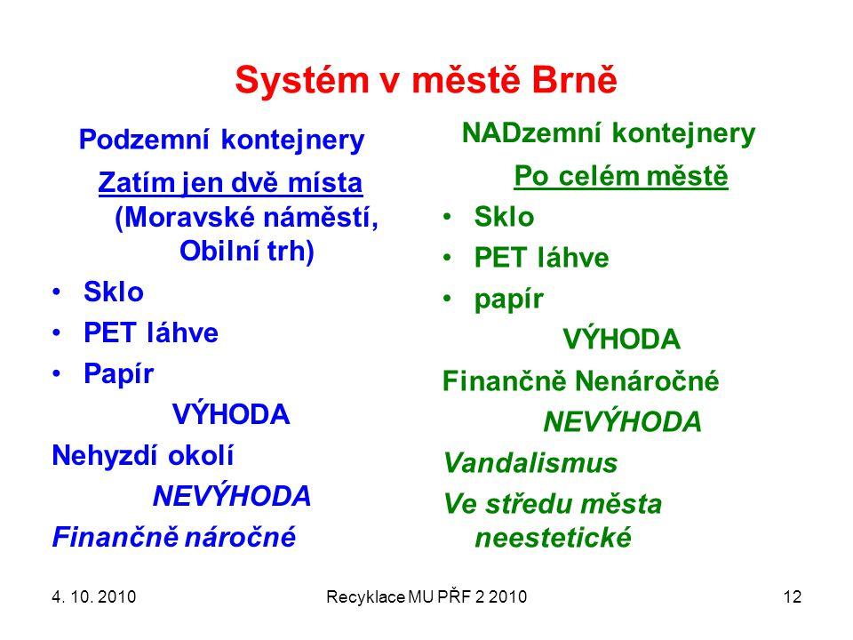 Systém v městě Brně Podzemní kontejnery Zatím jen dvě místa (Moravské náměstí, Obilní trh) Sklo PET láhve Papír VÝHODA Nehyzdí okolí NEVÝHODA Finančně