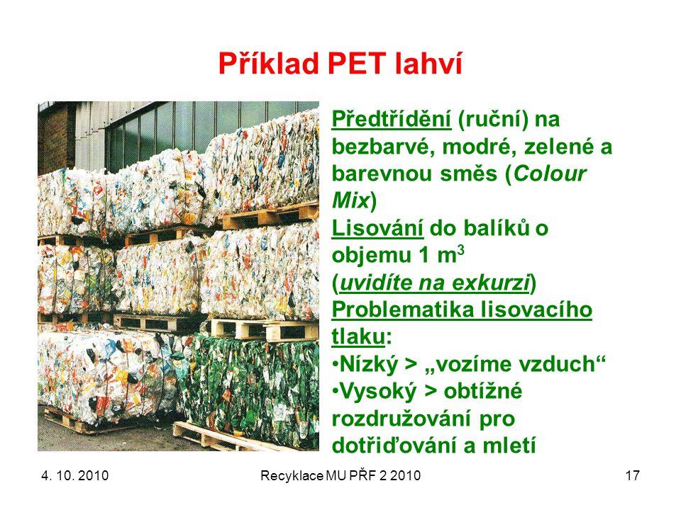 Příklad PET lahví Recyklace MU PŘF 2 201017 Předtřídění (ruční) na bezbarvé, modré, zelené a barevnou směs (Colour Mix) Lisování do balíků o objemu 1