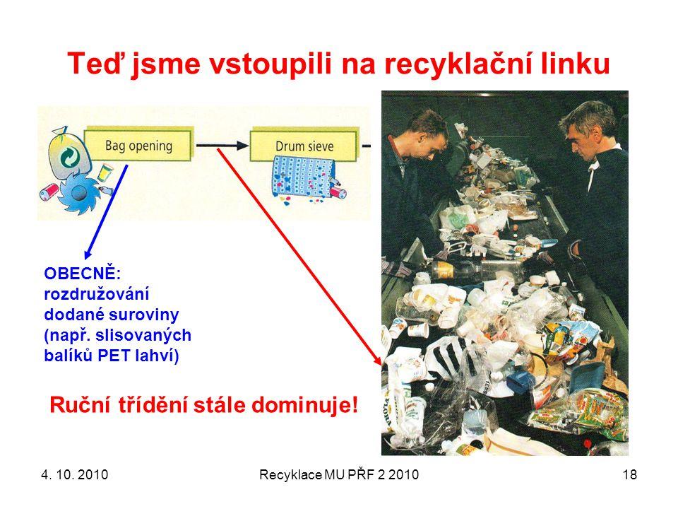 Teď jsme vstoupili na recyklační linku Recyklace MU PŘF 2 201018 OBECNĚ: rozdružování dodané suroviny (např. slisovaných balíků PET lahví) Ruční třídě