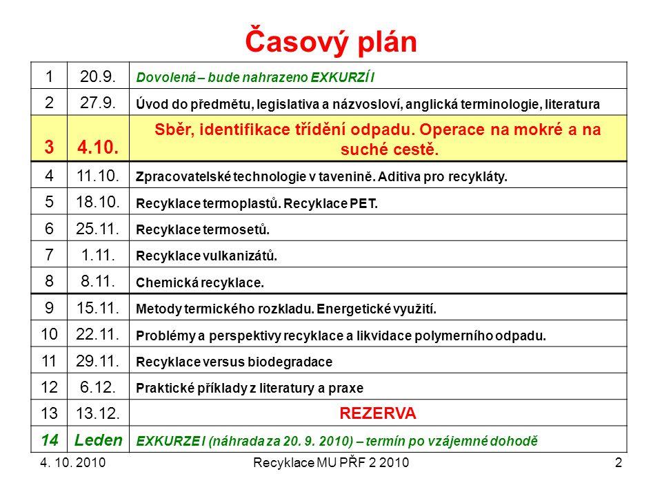 Recyklace MU PŘF 2 20102 Časový plán 120.9. Dovolená – bude nahrazeno EXKURZÍ I 227.9. Úvod do předmětu, legislativa a názvosloví, anglická terminolog