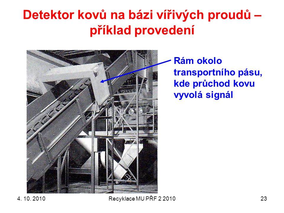Detektor kovů na bázi vířivých proudů – příklad provedení Recyklace MU PŘF 2 201023 Rám okolo transportního pásu, kde průchod kovu vyvolá signál 4. 10