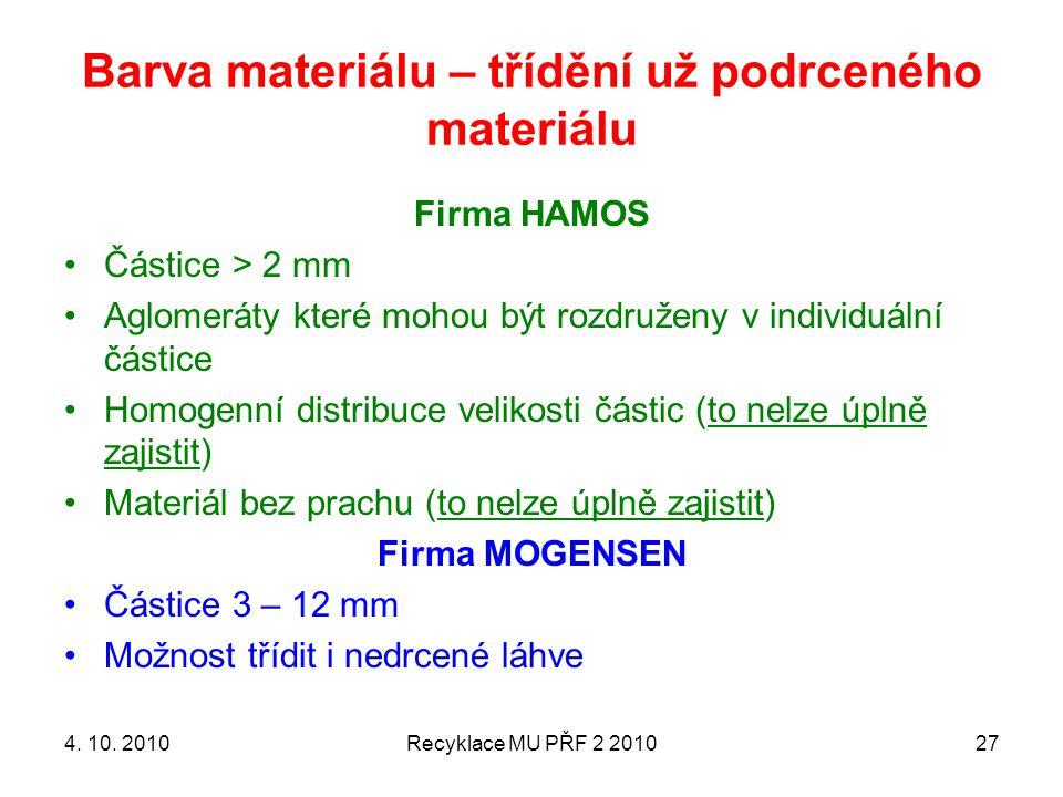 Barva materiálu – třídění už podrceného materiálu Firma HAMOS Částice > 2 mm Aglomeráty které mohou být rozdruženy v individuální částice Homogenní di