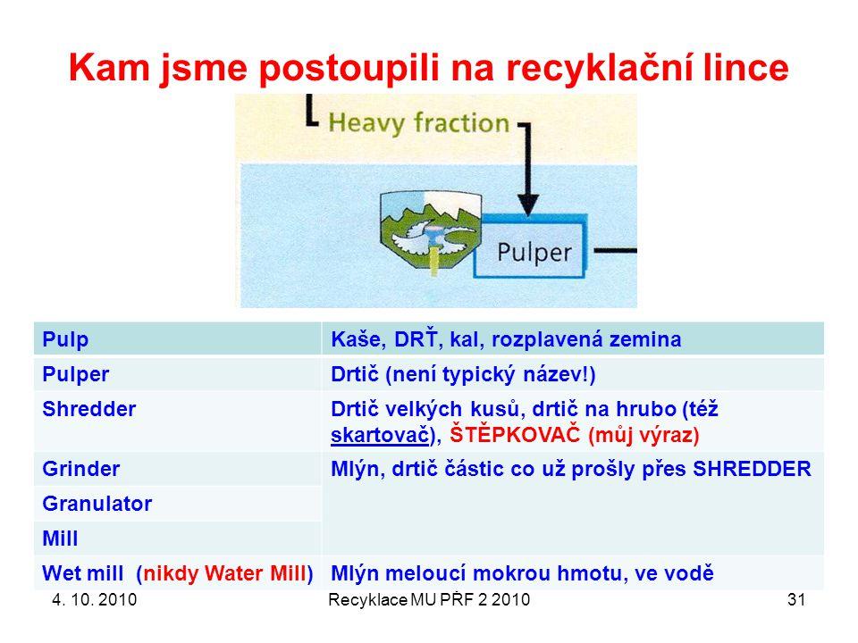 Kam jsme postoupili na recyklační lince Recyklace MU PŘF 2 201031 PulpKaše, DRŤ, kal, rozplavená zemina PulperDrtič (není typický název!) ShredderDrti