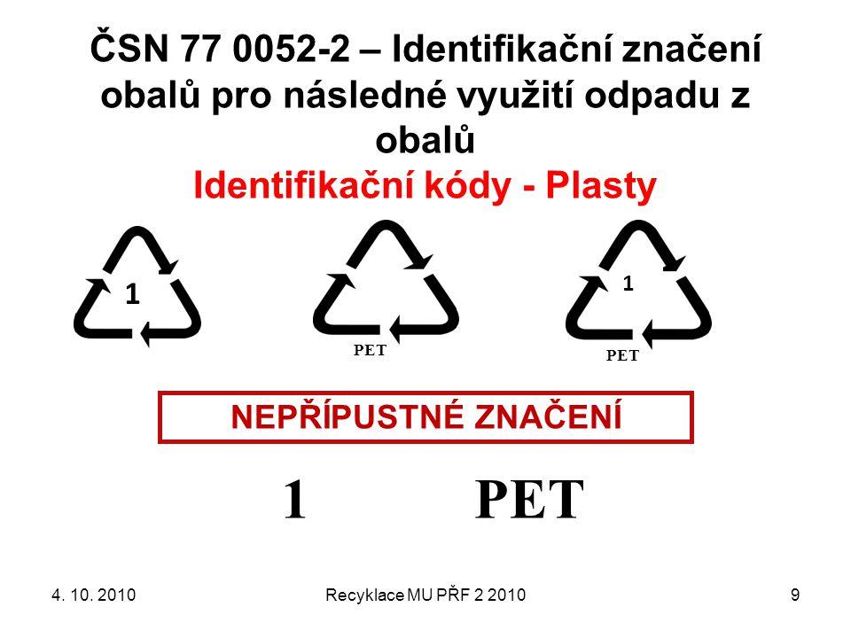 ČSN 77 0052-2 – Identifikační značení obalů pro následné využití odpadu z obalů Identifikační kódy - Plasty Recyklace MU PŘF 2 20109 1 PET NEPŘÍPUSTNÉ