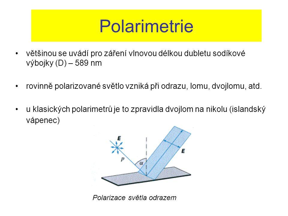 Polarimetrie většinou se uvádí pro záření vlnovou délkou dubletu sodíkové výbojky (D) – 589 nm rovinně polarizované světlo vzniká při odrazu, lomu, dv