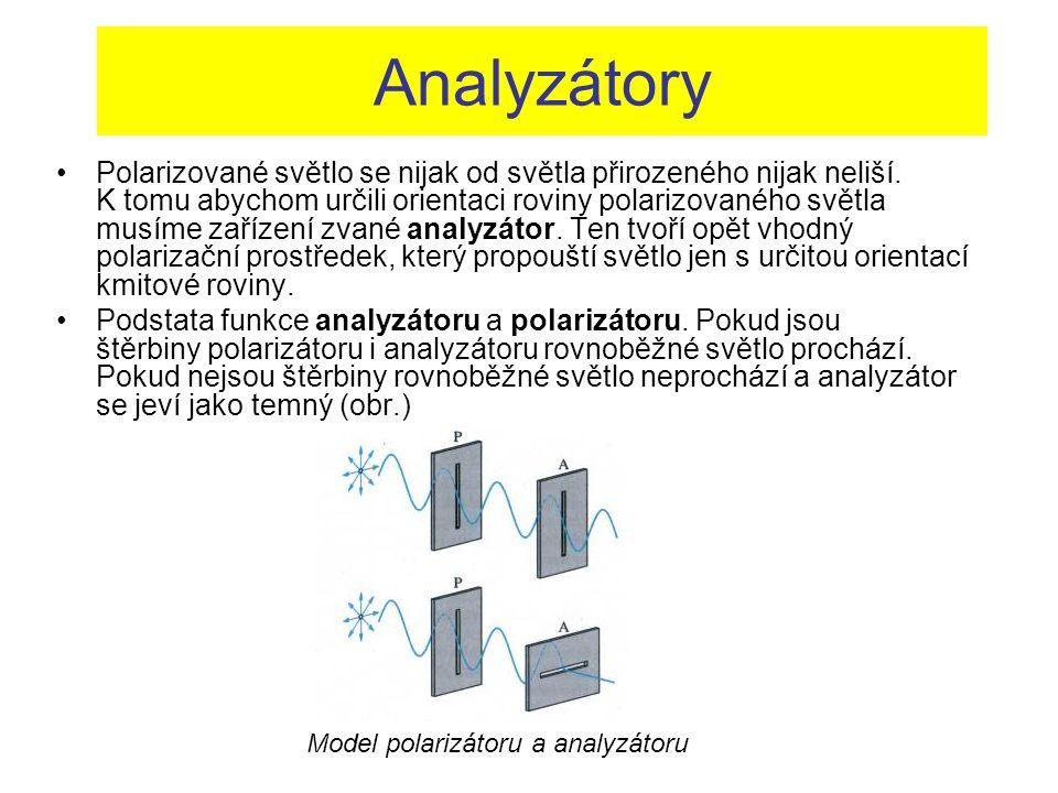 Analyzátory Polarizované světlo se nijak od světla přirozeného nijak neliší. K tomu abychom určili orientaci roviny polarizovaného světla musíme zaříz