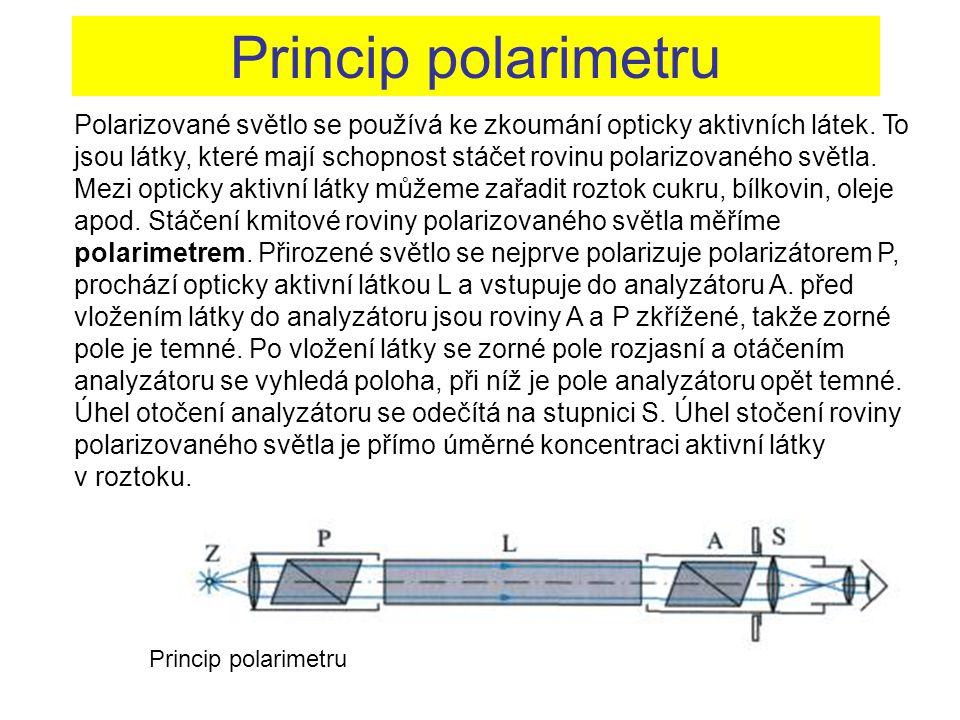 Princip polarimetru Polarizované světlo se používá ke zkoumání opticky aktivních látek. To jsou látky, které mají schopnost stáčet rovinu polarizované
