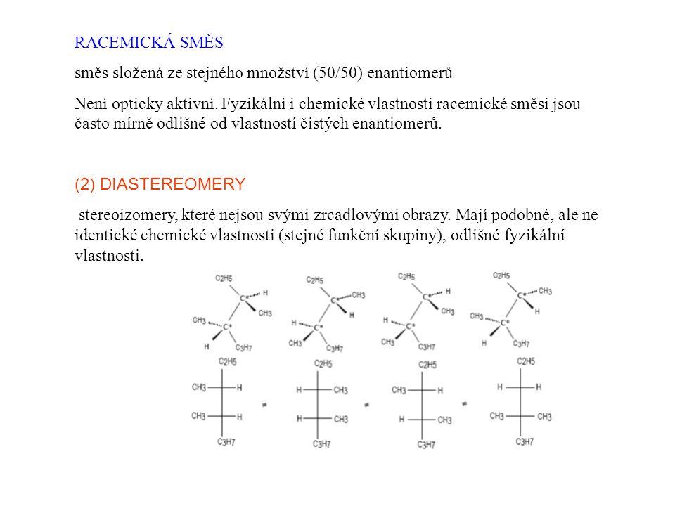 RACEMICKÁ SMĚS směs složená ze stejného množství (50/50) enantiomerů Není opticky aktivní. Fyzikální i chemické vlastnosti racemické směsi jsou často