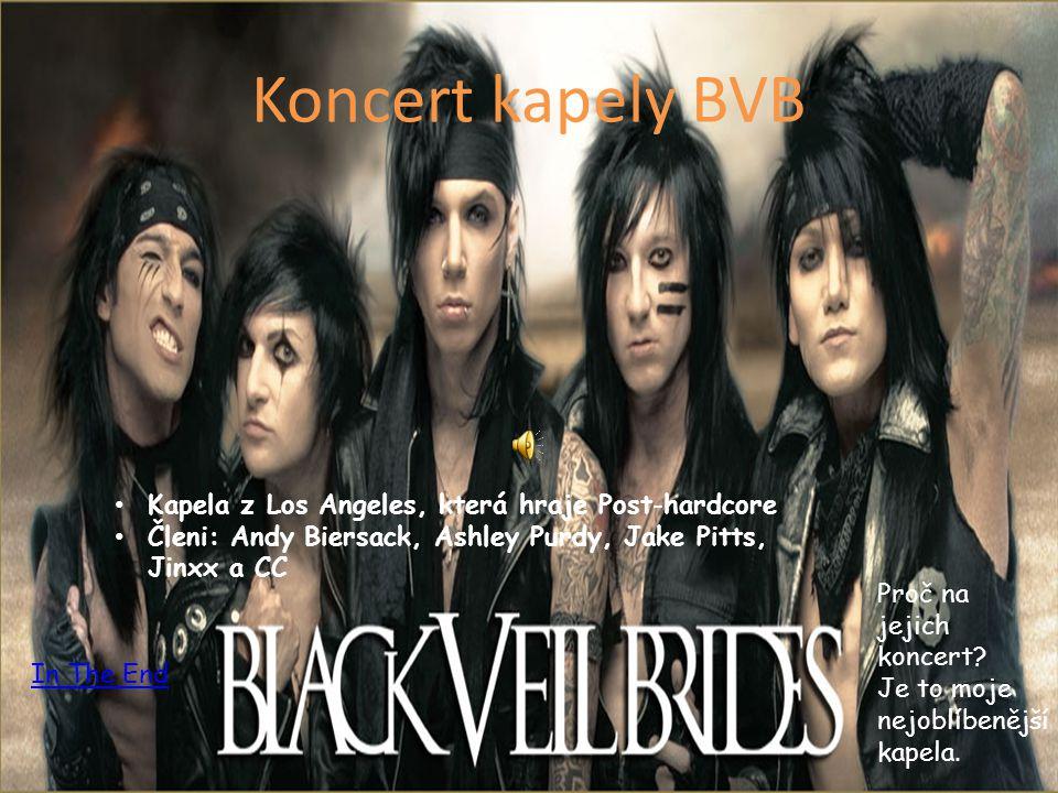 Koncert kapely BVB Kapela z Los Angeles, která hraje Post-hardcore Členi: Andy Biersack, Ashley Purdy, Jake Pitts, Jinxx a CC Proč na jejich koncert.