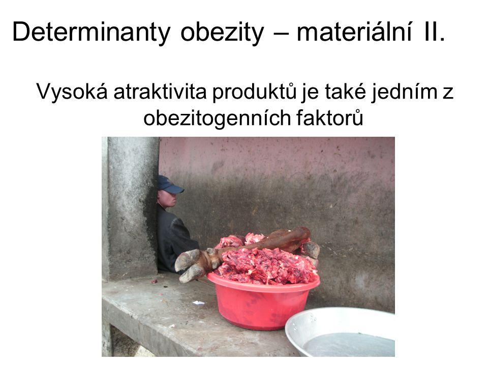 """Determinanty obezity – materiální I. Přebytek potravin a """"levná"""" kalorie Není profit ze zdravých potravin Cena potravin neodráží environmentální okoln"""