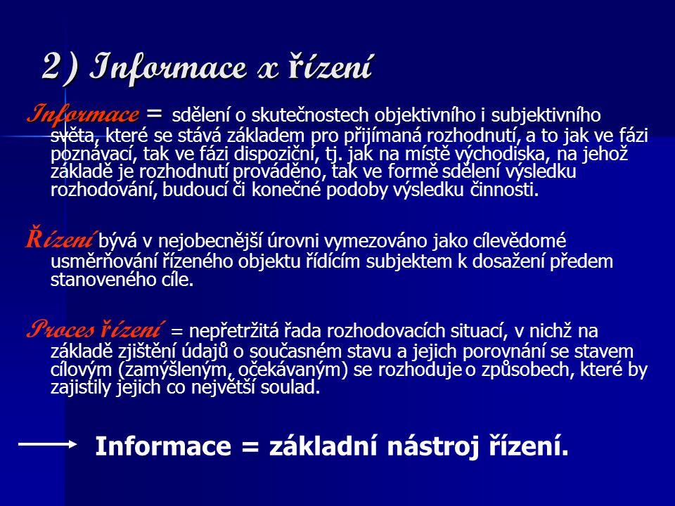 2) Informace x ř ízení Informace = Informace = sdělení o skutečnostech objektivního i subjektivního světa, které se stává základem pro přijímaná rozhodnutí, a to jak ve fázi poznávací, tak ve fázi dispoziční, tj.
