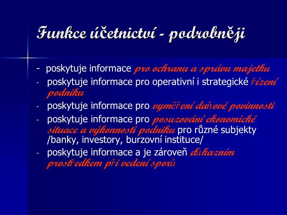 Funkce ú č etnictví - podrobn ě ji - poskytuje informace pro ochranu a správu majetku - - poskytuje informace pro operativní i strategické ř ízení podniku - - poskytuje informace pro vym ěř ení da ň ové povinnosti - - poskytuje informace pro posuzování ekonomické situace a výkonnosti podniku pro různé subjekty /banky, investory, burzovní instituce/ - - poskytuje informace a je zároveň d ů kazním prost ř edkem p ř i vedení spor ů