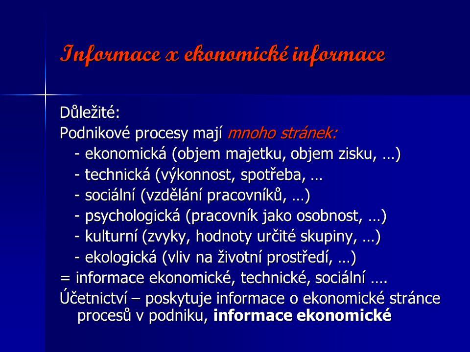 Informace x ekonomické informace Důležité: Podnikové procesy mají mnoho stránek: - ekonomická (objem majetku, objem zisku, …) - ekonomická (objem majetku, objem zisku, …) - technická (výkonnost, spotřeba, … - technická (výkonnost, spotřeba, … - sociální (vzdělání pracovníků, …) - sociální (vzdělání pracovníků, …) - psychologická (pracovník jako osobnost, …) - psychologická (pracovník jako osobnost, …) - kulturní (zvyky, hodnoty určité skupiny, …) - kulturní (zvyky, hodnoty určité skupiny, …) - ekologická (vliv na životní prostředí, …) - ekologická (vliv na životní prostředí, …) = informace ekonomické, technické, sociální ….