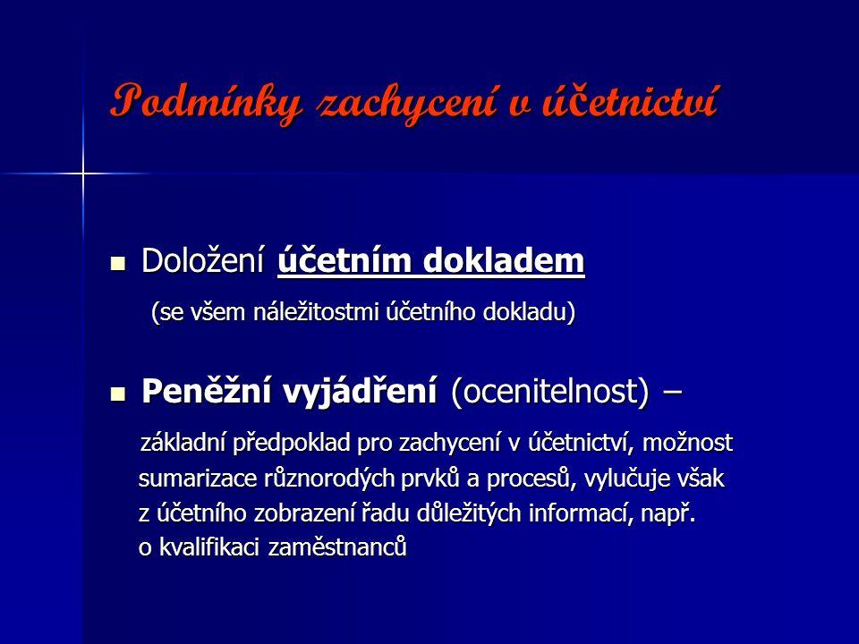 Podmínky zachycení v ú č etnictví Podmínky zachycení v ú č etnictví Doložení účetním dokladem Doložení účetním dokladem (se všem náležitostmi účetního dokladu) (se všem náležitostmi účetního dokladu) Peněžní vyjádření (ocenitelnost) – Peněžní vyjádření (ocenitelnost) – základní předpoklad pro zachycení v účetnictví, možnost základní předpoklad pro zachycení v účetnictví, možnost sumarizace různorodých prvků a procesů, vylučuje však sumarizace různorodých prvků a procesů, vylučuje však z účetního zobrazení řadu důležitých informací, např.