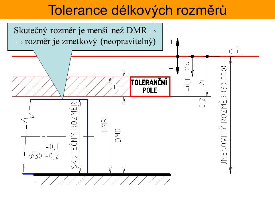 Tolerance délkových rozměrů Skutečný rozměr je menší než DMR   rozměr je zmetkový (neopravitelný)
