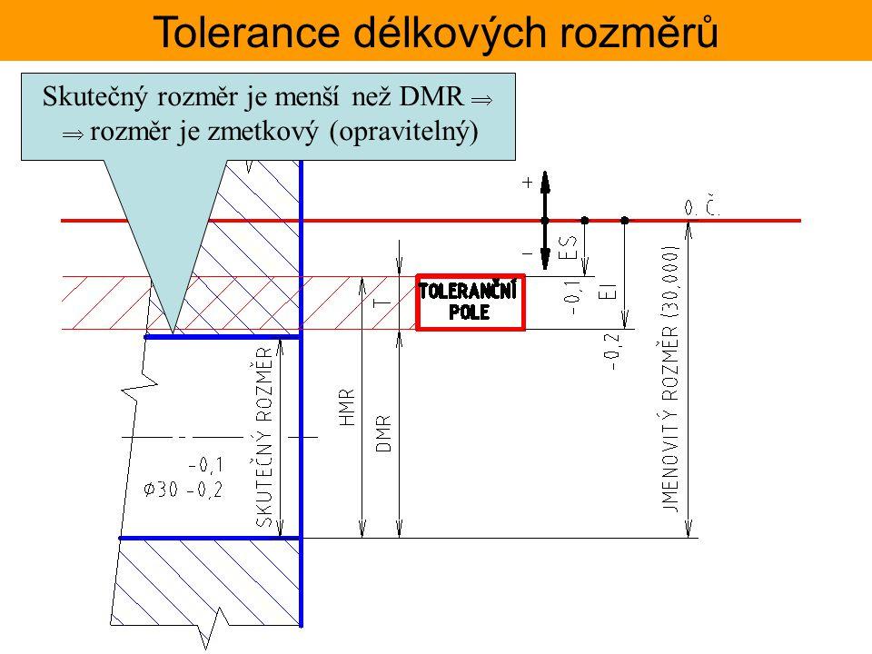 Tolerance délkových rozměrů Skutečný rozměr je menší než DMR   rozměr je zmetkový (opravitelný)