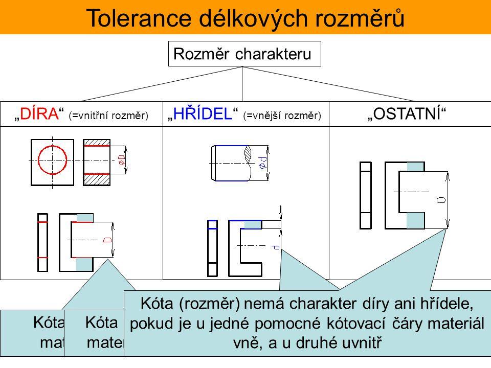"""""""DÍRA"""" (=vnitřní rozměr) Rozměr charakteru """"HŘÍDEL"""" (=vnější rozměr) """"OSTATNÍ"""" Tolerance délkových rozměrů Kóta (rozměr) má charakter díry, pokud je m"""