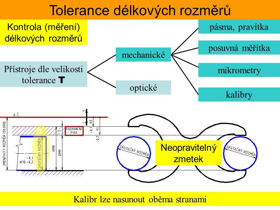 Tolerance délkových rozměrů Kontrola (měření) délkových rozměrů Přístroje dle velikosti tolerance T pásma, pravítka posuvná měřítka mikrometry kalibry