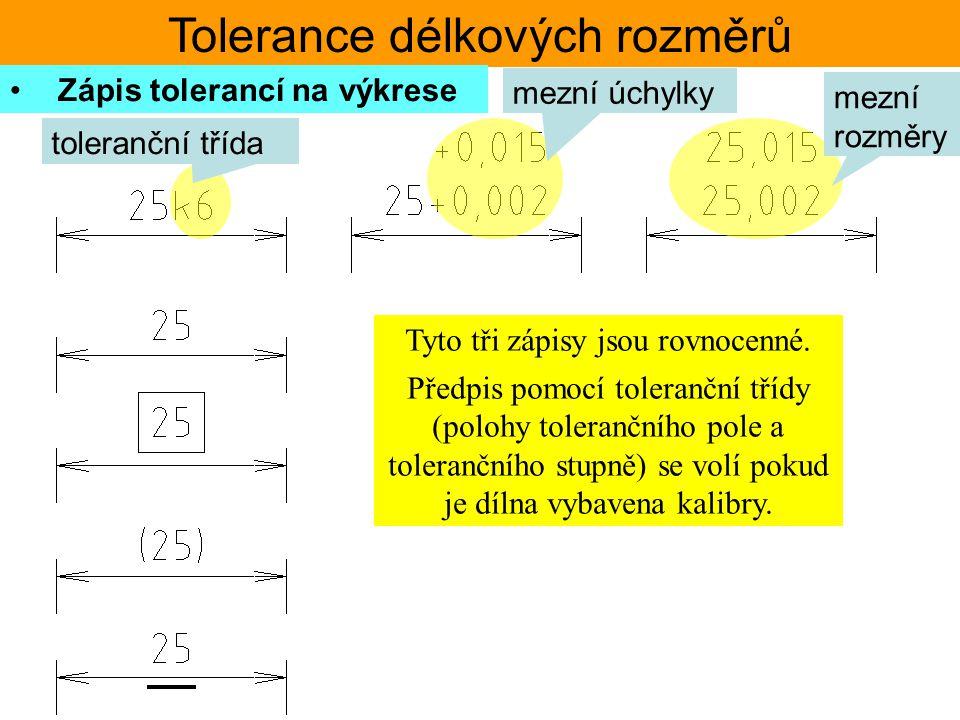 Tolerance délkových rozměrů Zápis tolerancí na výkrese toleranční třída mezní úchylky mezní rozměry Tyto tři zápisy jsou rovnocenné. Předpis pomocí to