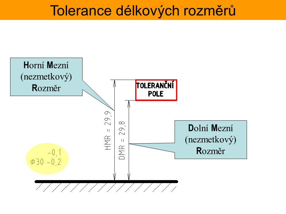 Tolerance délkových rozměrů TOLERANČNÍ SOUSTAVA ISO – Základní tolerance Jmenovité Toleranční stupeň rozměryIT1IT2IT3IT4IT5IT6IT7IT8IT9IT10IT11IT12IT13IT14IT15IT16IT17IT18 přesdočíselné hodnoty základních tolerancí ISO mm mm 30,81,2234610142540600,100,140,250,40,61,01,4 50802,035813193046741201900,300,460,741,21,93,04,6 801202,5461015223554871402200,350,540,871,42,23,55,4 250031502536506896135210330540860 1350 2,13,35,48,613,521,033,0 Rozsah rozměrů : (50;80N Hodnoty normalizovaných tolerancí jsou spočteny pro geometrický střed daného rozsahu