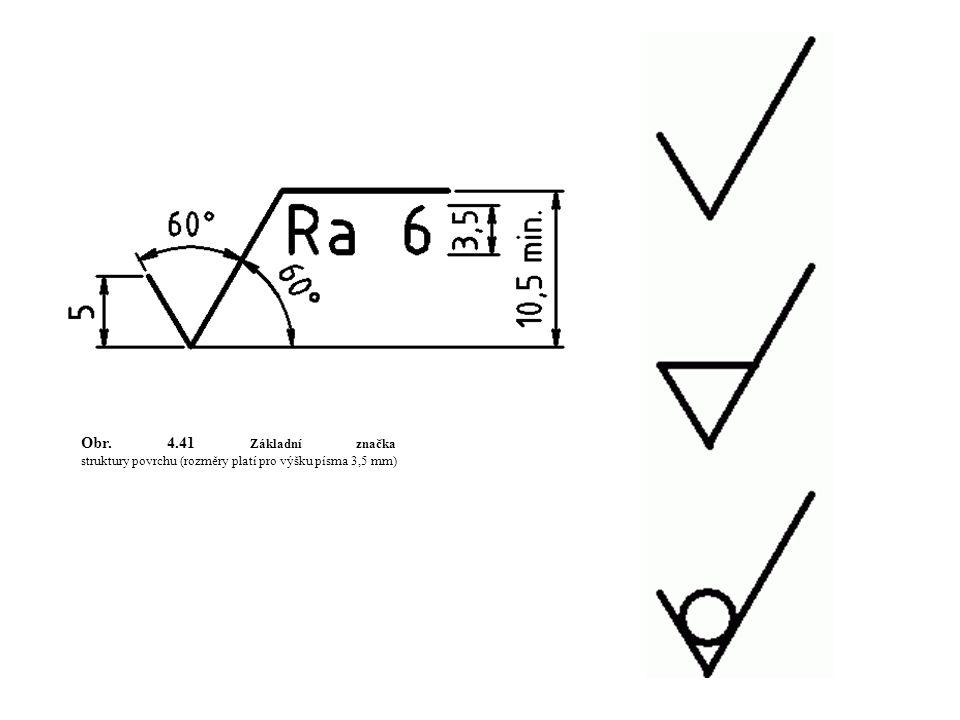 Obr. 4.41 Základní značka struktury povrchu (rozměry platí pro výšku písma 3,5 mm)