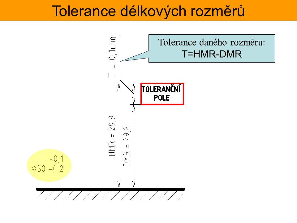 Tolerance délkových rozměrů TOLERANČNÍ SOUSTAVA ISO – Základní tolerance Jmenovité Toleranční stupeň rozměryIT1IT2IT3IT4IT5IT6IT7IT8IT9IT10IT11IT12IT13IT14IT15IT16IT17IT18 přesdočíselné hodnoty základních tolerancí ISO mm mm 30,81,2234610142540600,100,140,250,40,61,01,4 50802,035813193046741201900,300,460,741,21,93,04,6 801202,5461015223554871402200,350,540,871,42,23,55,4 250031502536506896135210330540860 1350 2,13,35,48,613,521,033,0 Rozsah rozměrů : (50;80N Např: pro ø80 Včetnost je vpravo  hodnoty se berou z horního řádku  velikost tolerance je funkcí jmenovitého rozměru a tolerančního stupně T = fce(JR;IT)