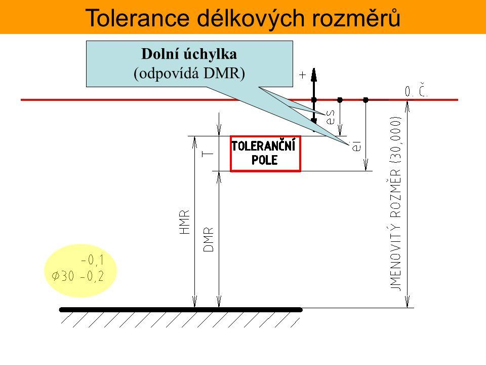 Tolerance délkových rozměrů Zápis tolerancí na výkrese přesnost rozměru je určena normou VŠEOBECNÉ TOLERANCE – ISO 2768 tato musí být uvedena na každém výkrese v razítku popisového pole, nebo nad ním.