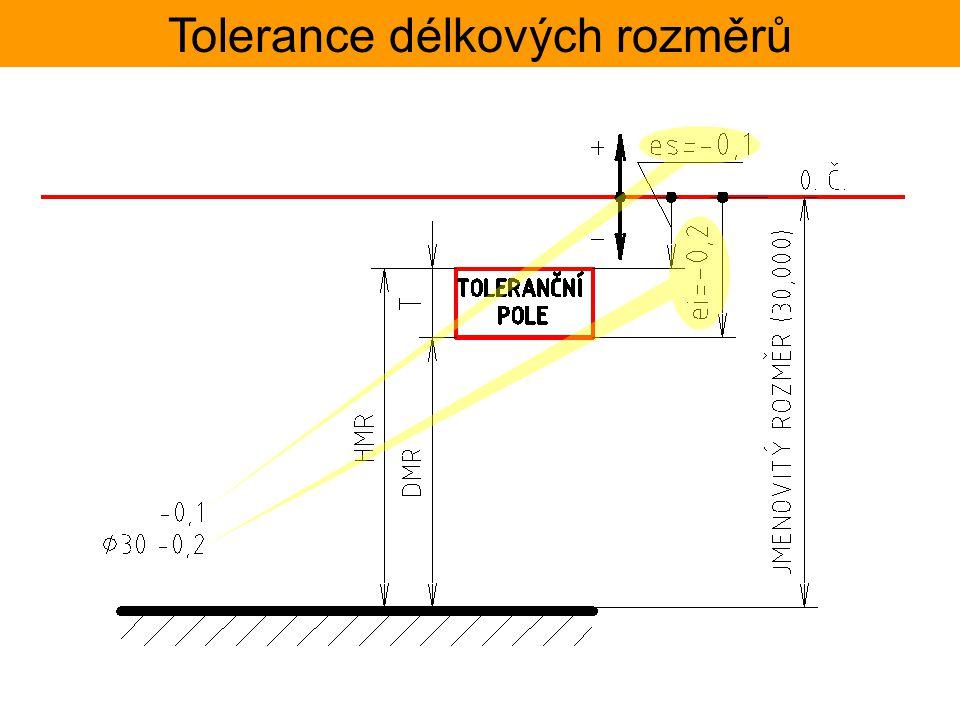 Tolerance délkových rozměrů Zápis tolerancí na výkrese tato kóta určuje polohu tolerančního pole geometrické tolerance jmenovitý rozměr