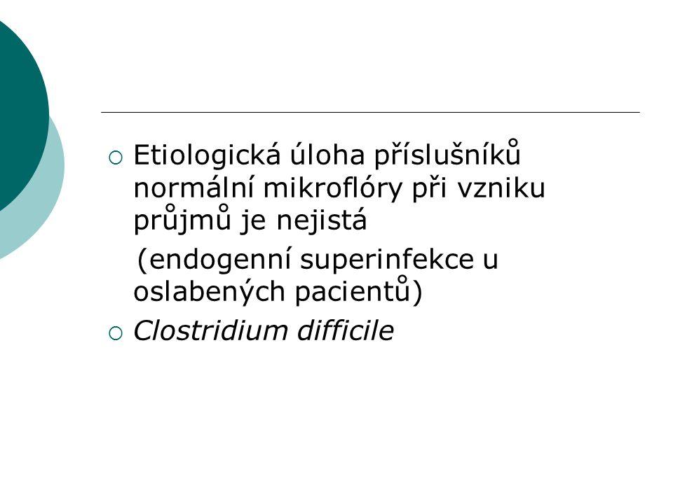  Etiologická úloha příslušníků normální mikroflóry při vzniku průjmů je nejistá (endogenní superinfekce u oslabených pacientů)  Clostridium difficil