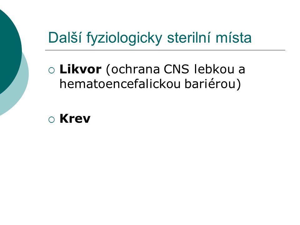 Další fyziologicky sterilní místa  Likvor (ochrana CNS lebkou a hematoencefalickou bariérou)  Krev