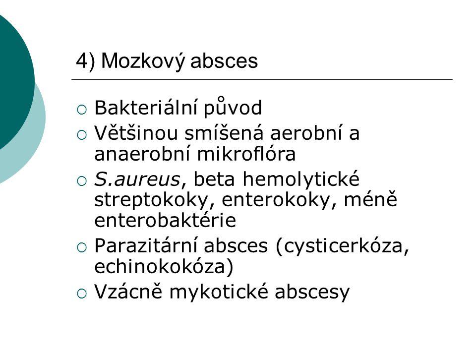 4) Mozkový absces  Bakteriální původ  Většinou smíšená aerobní a anaerobní mikroflóra  S.aureus, beta hemolytické streptokoky, enterokoky, méně enterobaktérie  Parazitární absces (cysticerkóza, echinokokóza)  Vzácně mykotické abscesy