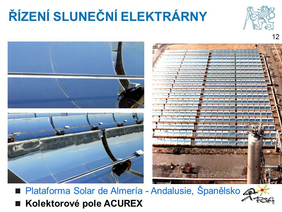 12 Plataforma Solar de Almería - Andalusie, Španělsko Kolektorové pole ACUREX ŘÍZENÍ SLUNEČNÍ ELEKTRÁRNY