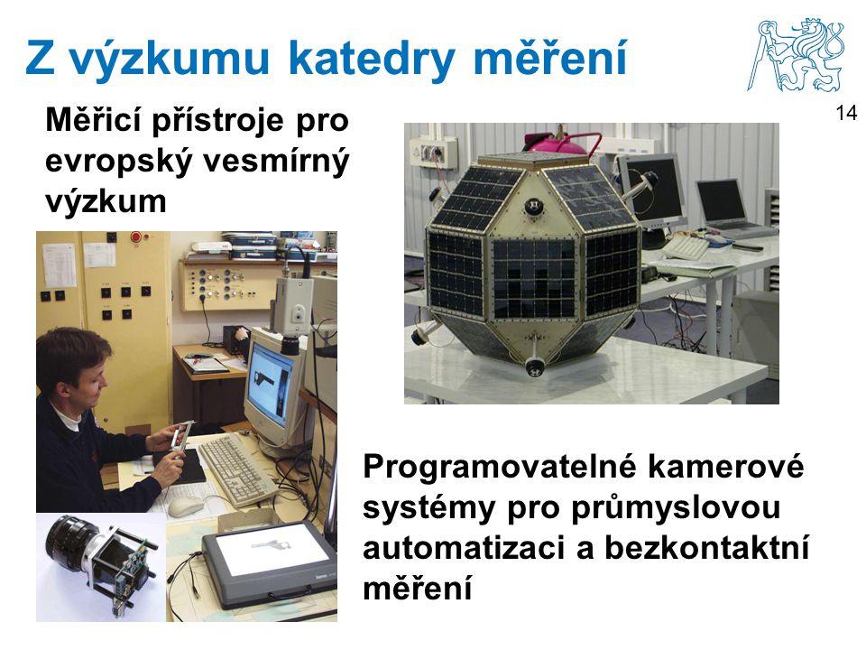 14 Měřicí přístroje pro evropský vesmírný výzkum Z výzkumu katedry měření Programovatelné kamerové systémy pro průmyslovou automatizaci a bezkontaktní měření