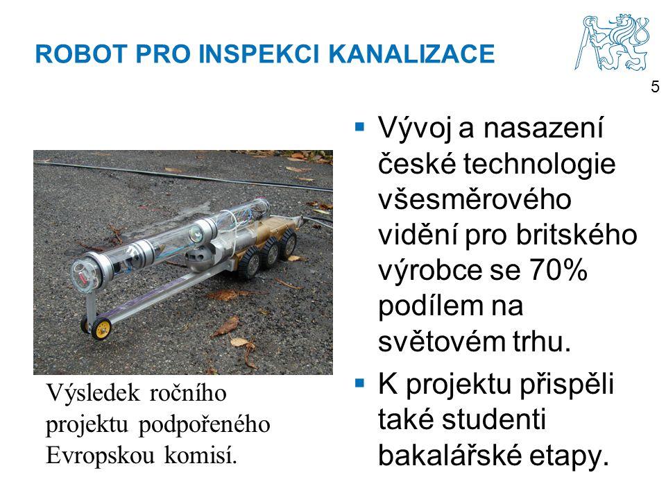 5 ROBOT PRO INSPEKCI KANALIZACE  Vývoj a nasazení české technologie všesměrového vidění pro britského výrobce se 70% podílem na světovém trhu.