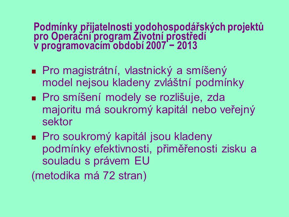 Podmínky přijatelnosti vodohospodářských projektů pro Operační program Životní prostředí v programovacím období 2007 − 2013 Pro magistrátní, vlastnick
