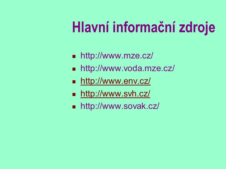 Hlavní informační zdroje http://www.mze.cz/ http://www.voda.mze.cz/ http://www.env.cz/ http://www.svh.cz/ http://www.sovak.cz/