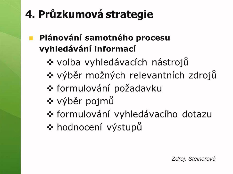 4. Průzkumová strategie Plánování samotného procesu vyhledávání informací  volba vyhledávacích nástrojů  výběr možných relevantních zdrojů  formulo