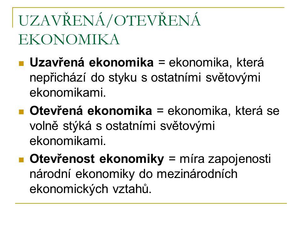 MÍRA OTEVŘENOSTI kvantitativní aspekt ukazatele = poměry EX, IM nebo obratu obchodu na HDP čím větší ekonomika, tím menší zapojení do mezinárodní dělby práce čím vyspělejší, tím větší zapojení