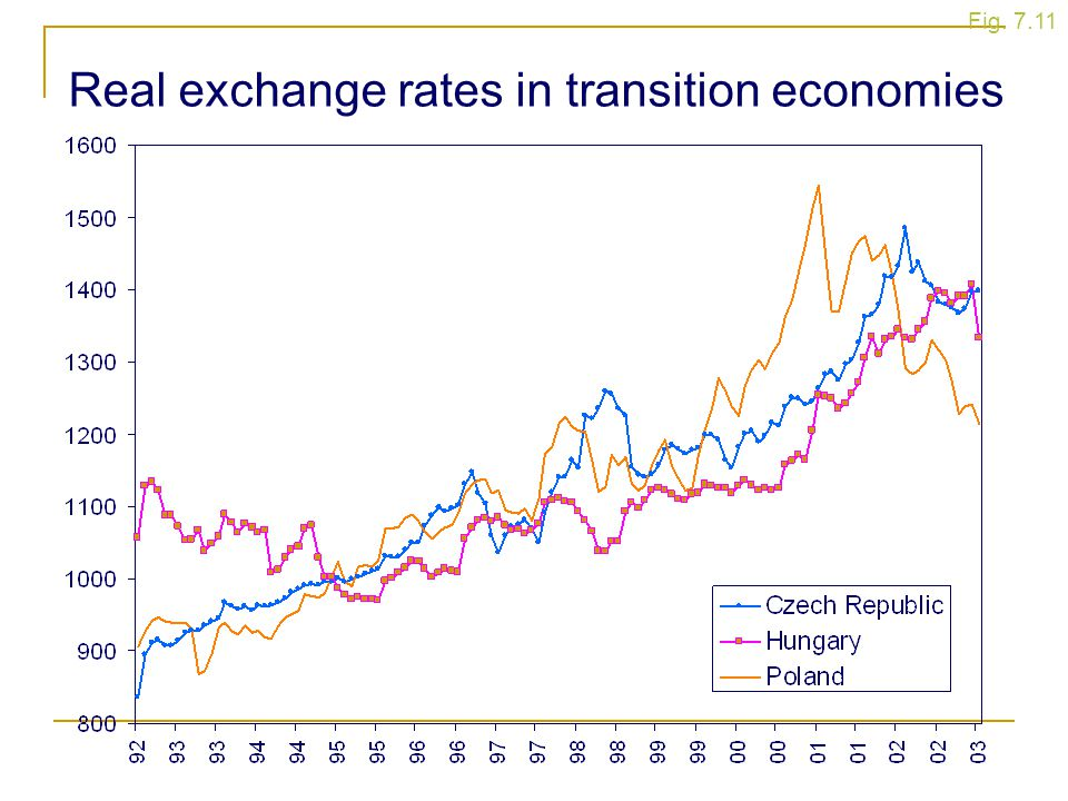 Fig. 7.11 Real exchange rates in transition economies