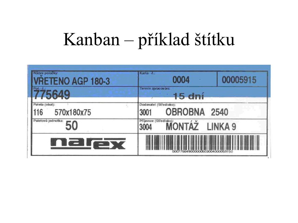 Kanban – příklad štítku
