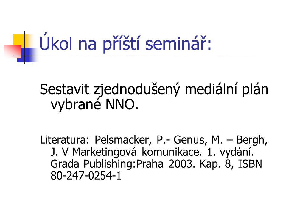 Úkol na příští seminář: Sestavit zjednodušený mediální plán vybrané NNO. Literatura: Pelsmacker, P.- Genus, M. – Bergh, J. V Marketingová komunikace.