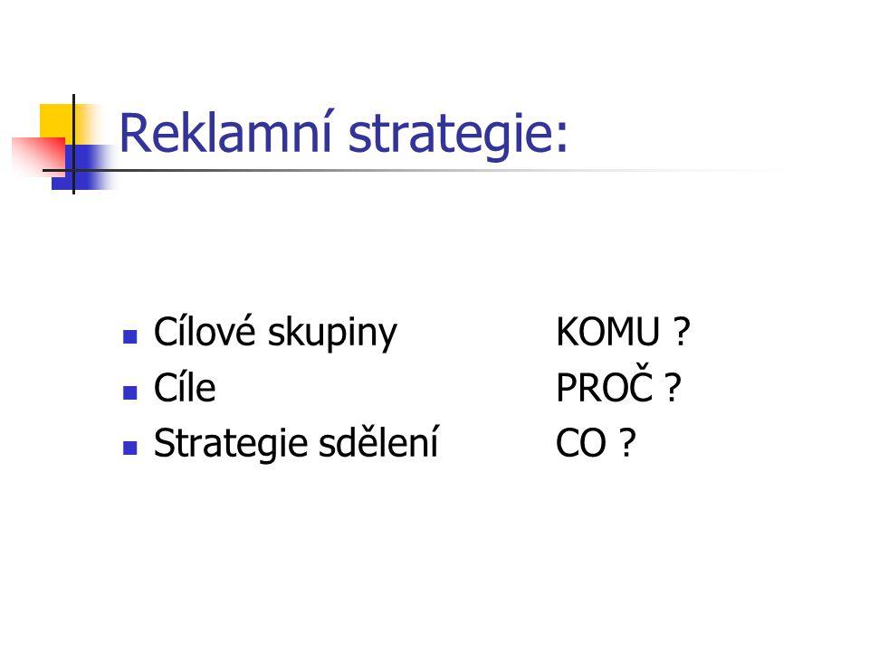Reklamní strategie: Cílové skupinyKOMU ? CílePROČ ? Strategie sděleníCO ?