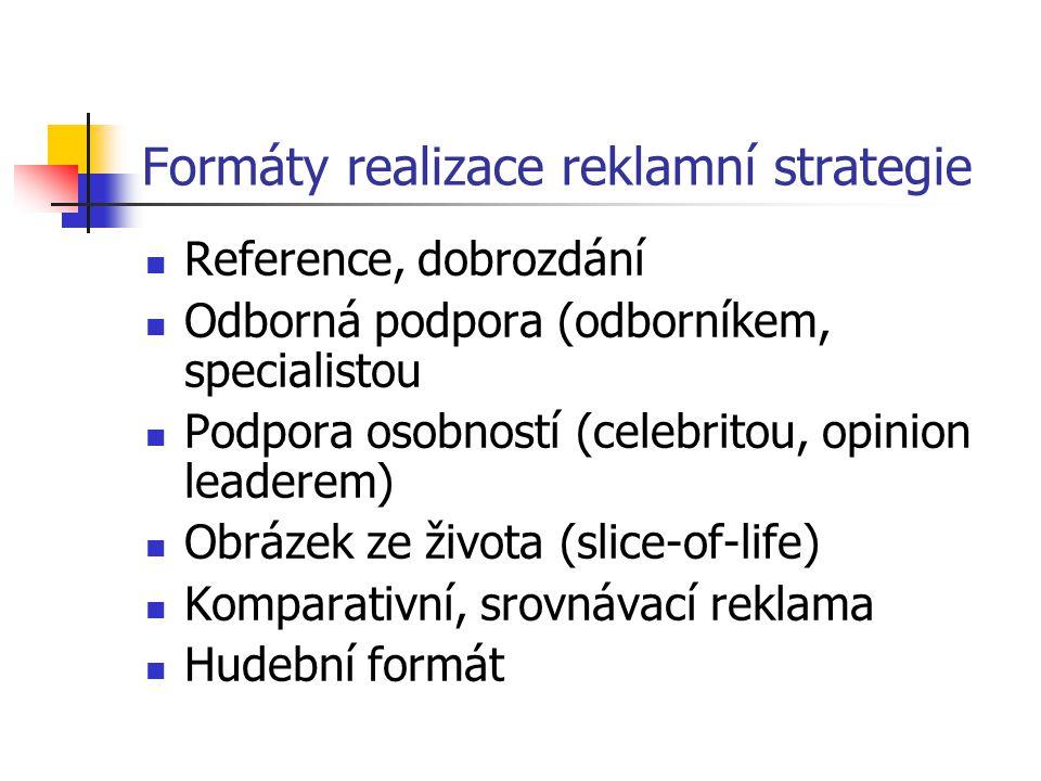Formáty realizace reklamní strategie Reference, dobrozdání Odborná podpora (odborníkem, specialistou Podpora osobností (celebritou, opinion leaderem) Obrázek ze života (slice-of-life) Komparativní, srovnávací reklama Hudební formát