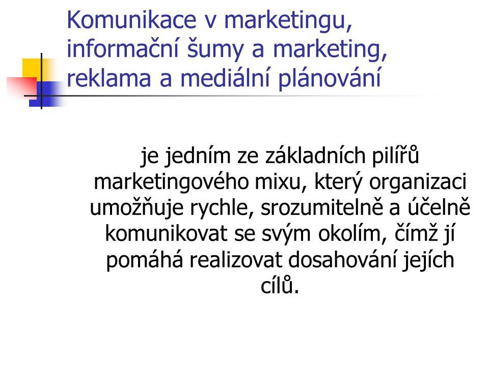 Komunikace v marketingu, informační šumy a marketing, reklama a mediální plánování je jedním ze základních pilířů marketingového mixu, který organizac