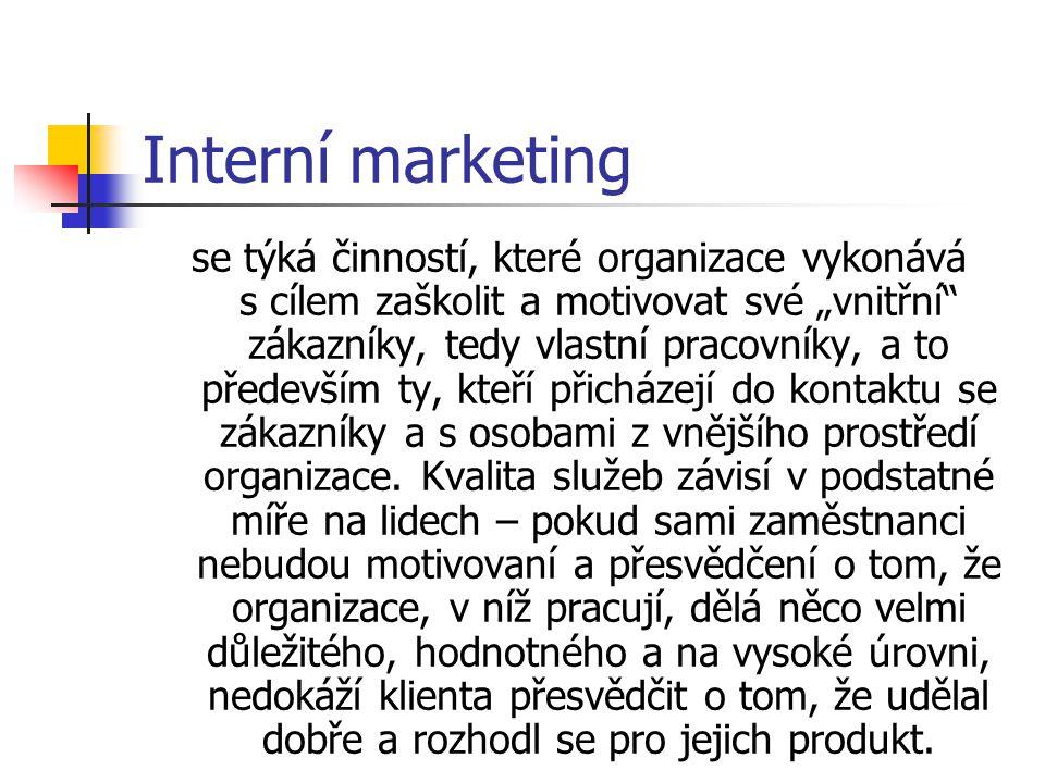 """Interní marketing se týká činností, které organizace vykonává s cílem zaškolit a motivovat své """"vnitřní zákazníky, tedy vlastní pracovníky, a to především ty, kteří přicházejí do kontaktu se zákazníky a s osobami z vnějšího prostředí organizace."""