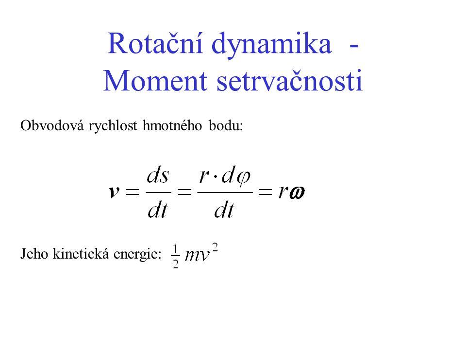 Rotační dynamika - Moment setrvačnosti Obvodová rychlost hmotného bodu: Jeho kinetická energie: