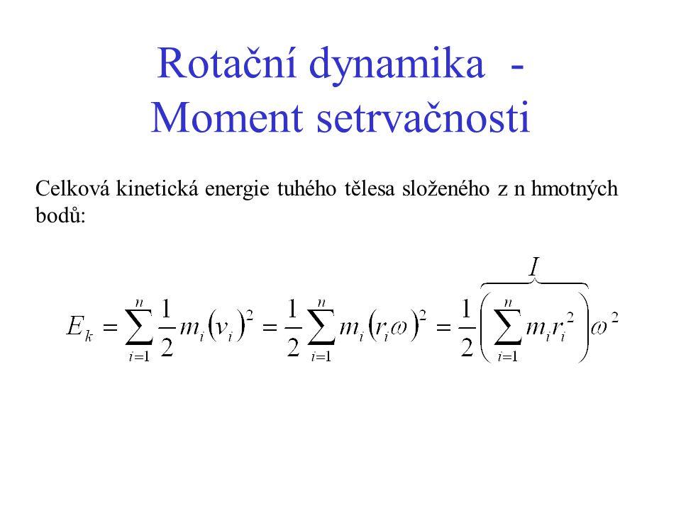 Rotační dynamika - Moment setrvačnosti Celková kinetická energie tuhého tělesa složeného z n hmotných bodů: