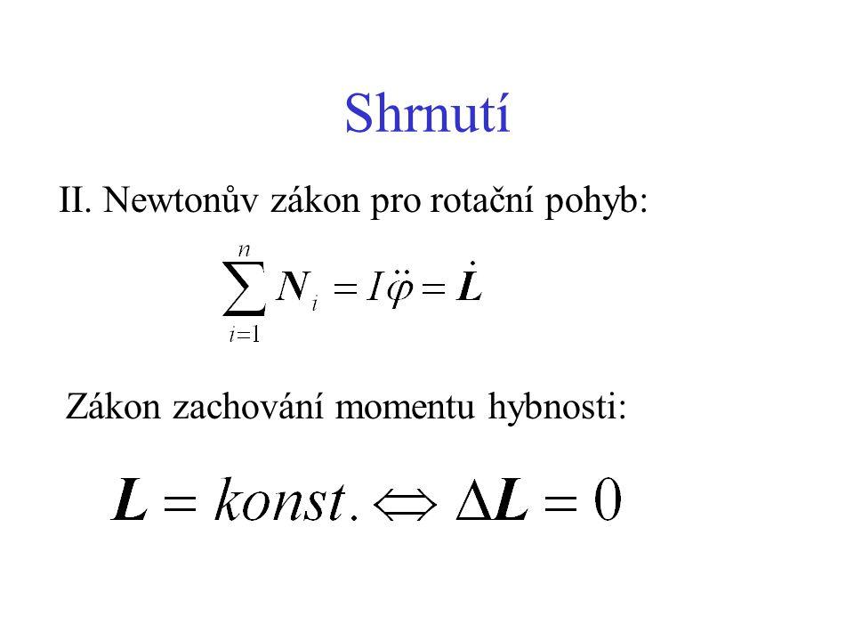 Shrnutí II. Newtonův zákon pro rotační pohyb: Zákon zachování momentu hybnosti: